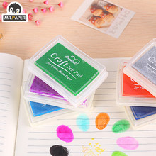 Mr Paper-almohadilla de tinta de 15 colores, artesanía de bricolaje hecha a mano, almohadilla de tinta a base de aceite para tela, papel recortes de madera, almohadilla de tinta para pintura de dedos