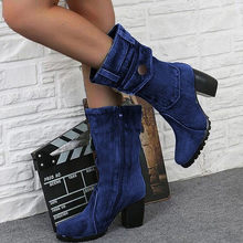 2019 Denim Ankle Boots Pocket Vintage Roman Women Shoes Heel Flat Heel Boots Female Zipper Short Boots Dropshipping(China)