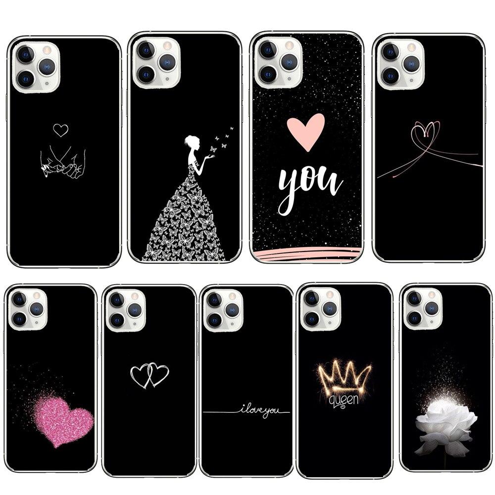 Caja del teléfono de la Reina corazón amor cubierta para iPhone 11 Pro Max 9 SE2 X XR XS Max 6S 6 7 8 plus 5 2020 Vidrio Protector de cerámica para iPhone SE 2020 SE 2 SE2 Protector de pantalla para iPhone X XR Xs 11 Pro Max 7 8 6 6S Plus Vidrio Templado
