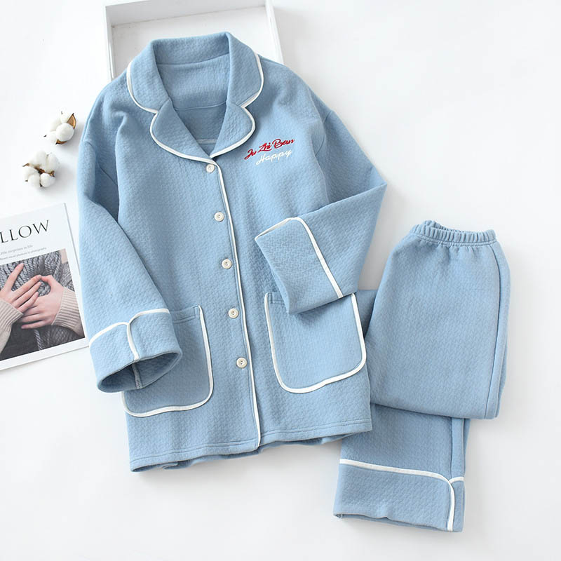 women's sleepwear cotton pajamas set warm winter 2 pieces home service letter embroidery long-sleeved and pants pajamas suit