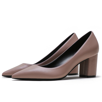 Genuine Leather Pumps Women Pointed Toe Footwear Shallow Office Shoes Female Fashion Square Heels 6cm Woman Autumn 2020 E0110 plus size 34 46 fashion high heels shoes women pumps square heel pointed toe dress pumps shallow party stilettos ladies footwear