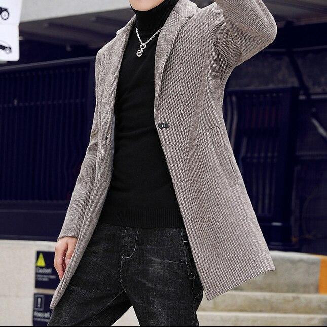 Houndstooth Khaki Men Blazer Autumn/Winter Tweed Male Coat Formal Men's Business Jacket Casual Blue Sim Blazers for Men 2020