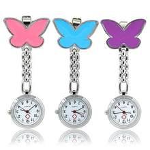 Bolso enfermeira médica relógio de pulso feminino vestido relógios 3 cor pingente pendurado relógio de quartzo forma borboleta relogio de bolso