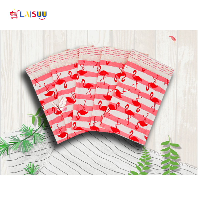 000 4x8 quot 122x178mm Pink Flamingo Poly Bubble Mailers Padded Envelopes Self Seal Envelope bubble envelope shipping envelopes in Paper Envelopes from Office amp School Supplies