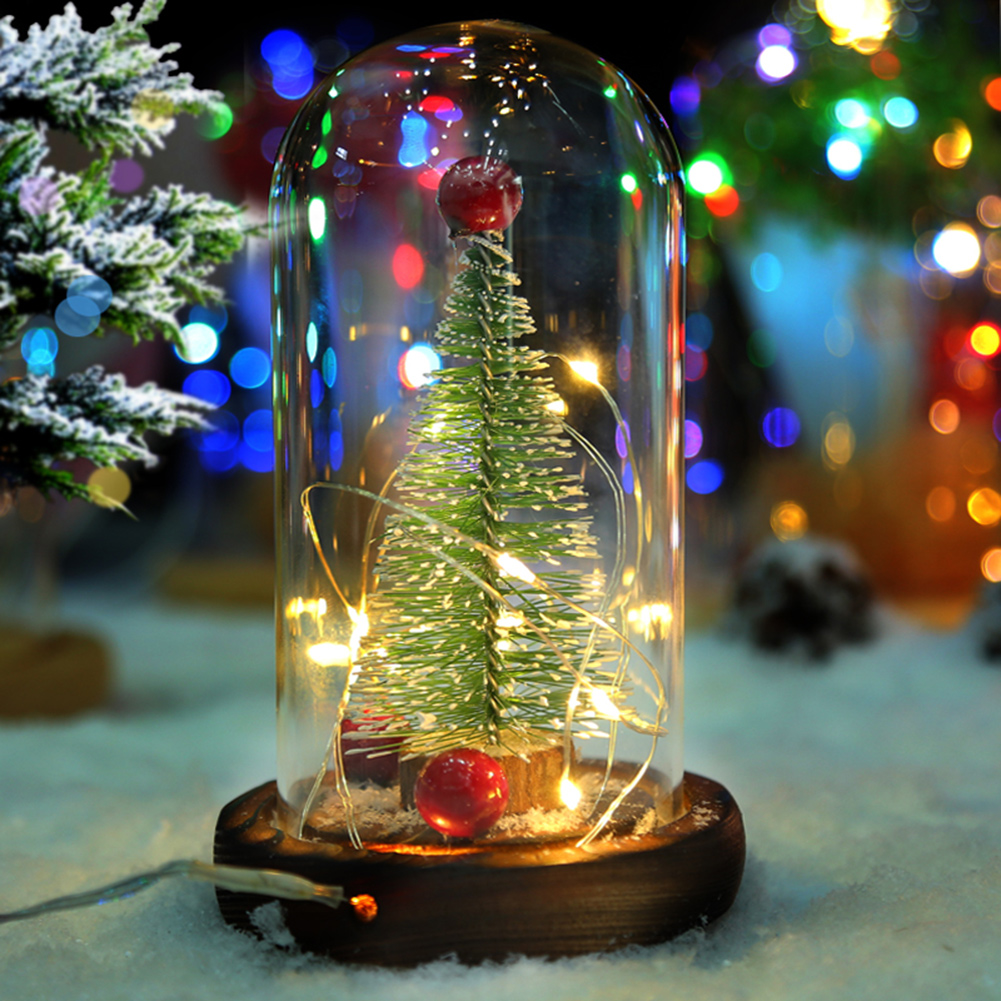 Mini Christmas Tree In Glass With LED Lights Ornaments Decoration For Home Party Can CSV