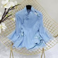 Elegant Fashion Embroidery Flower Blouse 2020 Spring Women New Shirt Organza High Quality Long Sleeve Top Chinese Style Tops