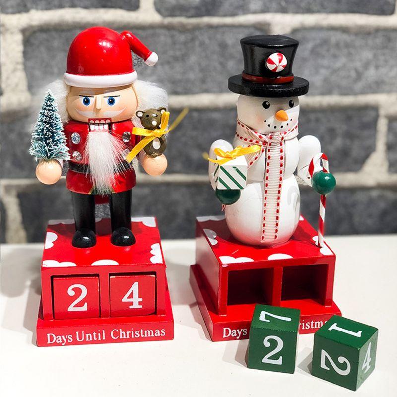 Snowman Shape Christmas Decoration Wooden Countdown Calendar Cute Cartoon Decoration Countdown Calendar