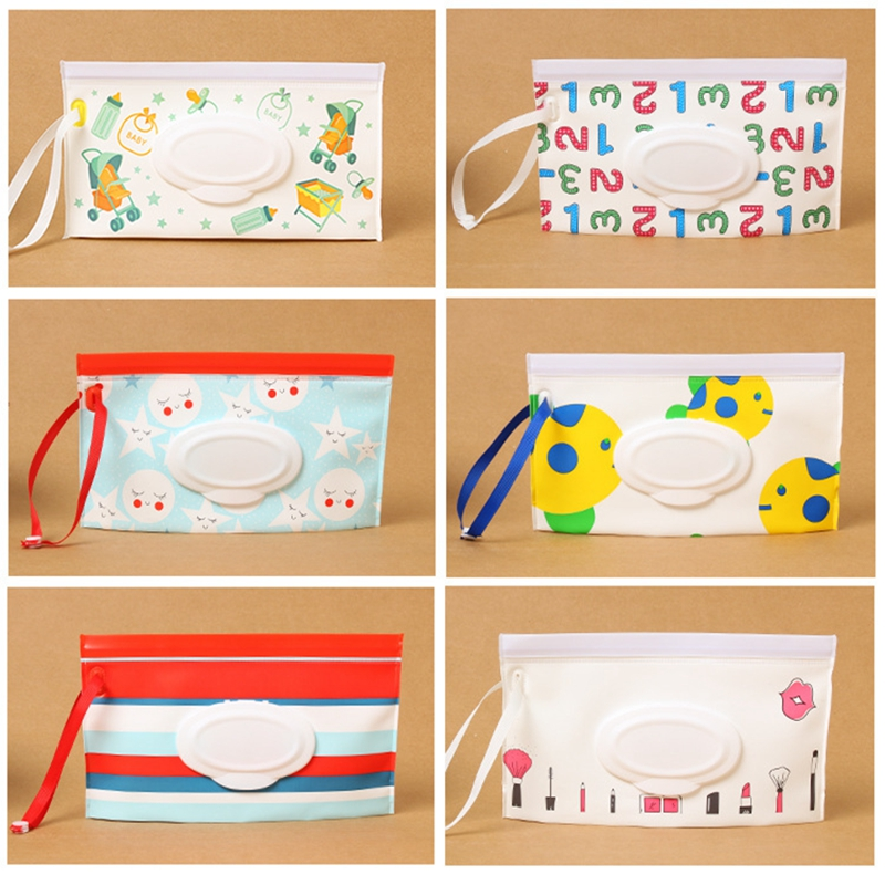 Baby Wet Wipes Bag Eco-friendly Bag Outdoor Easy-carry Snap-strap Wipes Container Clutch&Clean Wipes Carrying Case With Cover