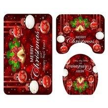 1/3 шт рождественское сиденье для унитаза и коврик для ванной набор необычных Санты коврик для ванной рождественские украшения для дома
