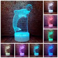 Figuras bentos marinos parpadeantes modelo 3D LED para dormir luz nocturna colorida cambiante tiburón delfín ballena Animal figura Juguetes