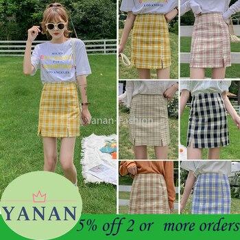 цена на Plaid skirt female short skirt 2020 new Korean student style Skirt lined with high waist split a line skirt