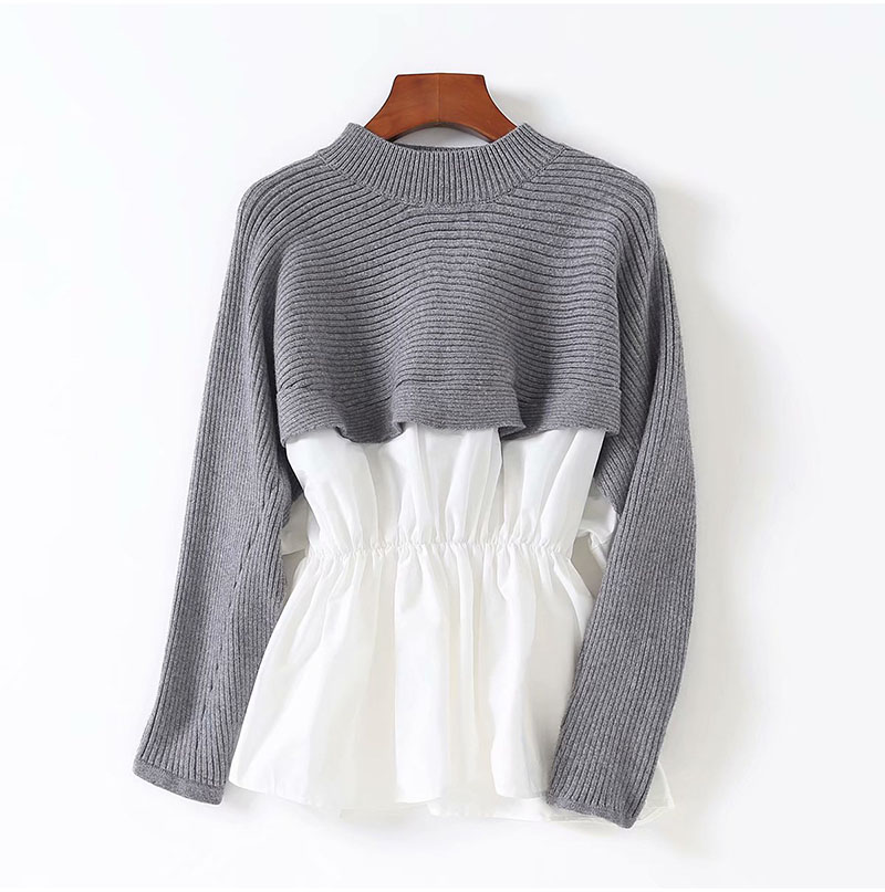 Womens Patchwork Sweater Shirts Autumn Knit Fake Two Pieces O-neck Long Sleeve Japan Woman Sweaters Female Pullovers Tops LS158