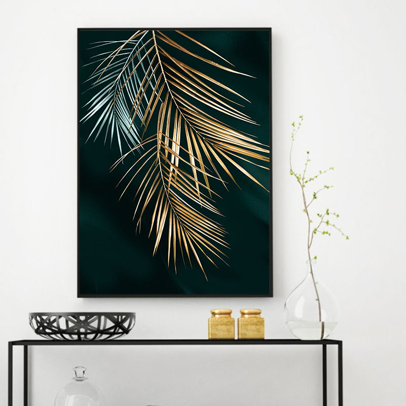 Abstract Golden Plant Leaves Picture Wall Poster Modern Style Canvas Print Painting Art Aisle Living Room Abstract Golden Plant Leaves Picture Wall Poster Modern Style Canvas Print Painting Art Aisle Living Room Unique Decoration
