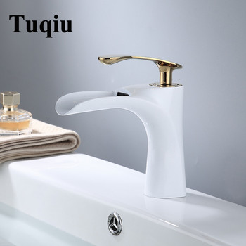 Basin Faucets Gold Brass Waterfall Faucet Bathroom Sink Faucet Single Handle Deck Mounted Toilet Hot And Cold Mixer Water Tap