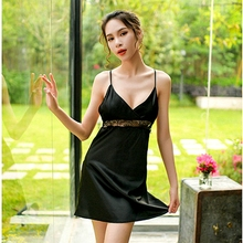 Womens Lingerie Clothing Sexy Night Gowns Silk Backless Night Dress Lace V-neck Mini Nightgown Spaghetti Strap Sleepwear Satin night wear sexy lace lingerie sexy womens satin nightgown sleepwear silk lace mini dress spaghetti strap sexy lingerie patchwork