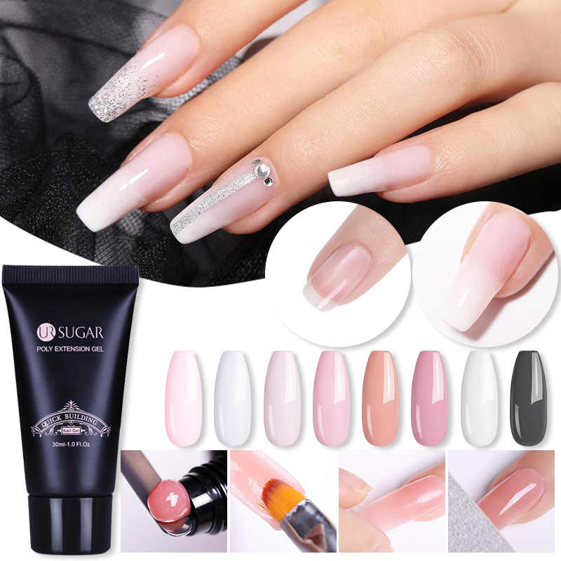 Ur Suiker 30 Ml Quick Building Gel Roze Clear Poly Extension Gel Glitter Uv Building Gel Vinger Verlengen Nail Tips led Enhancement