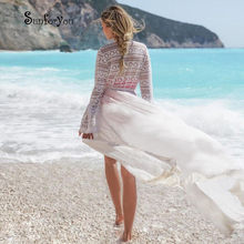 White Boho Dress 2020 Bathing suit cover up Cotton Lace Patchwork Beach Cover up Robe Plage Sexy Women Summer Casual Dress