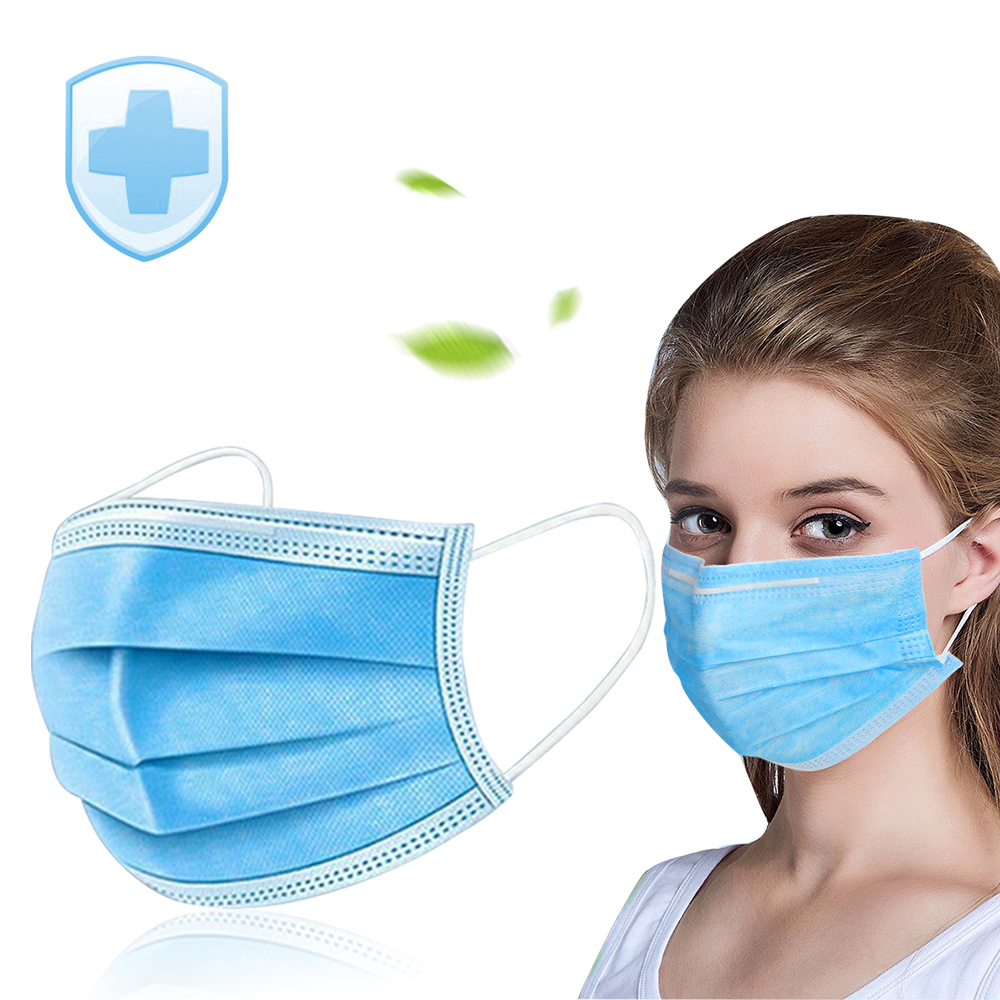 50PCS Disposable Protective Mask 3 Layers Dustproof Facial Protective Cover Mask Maldehyde Prevent Bacteria Mask