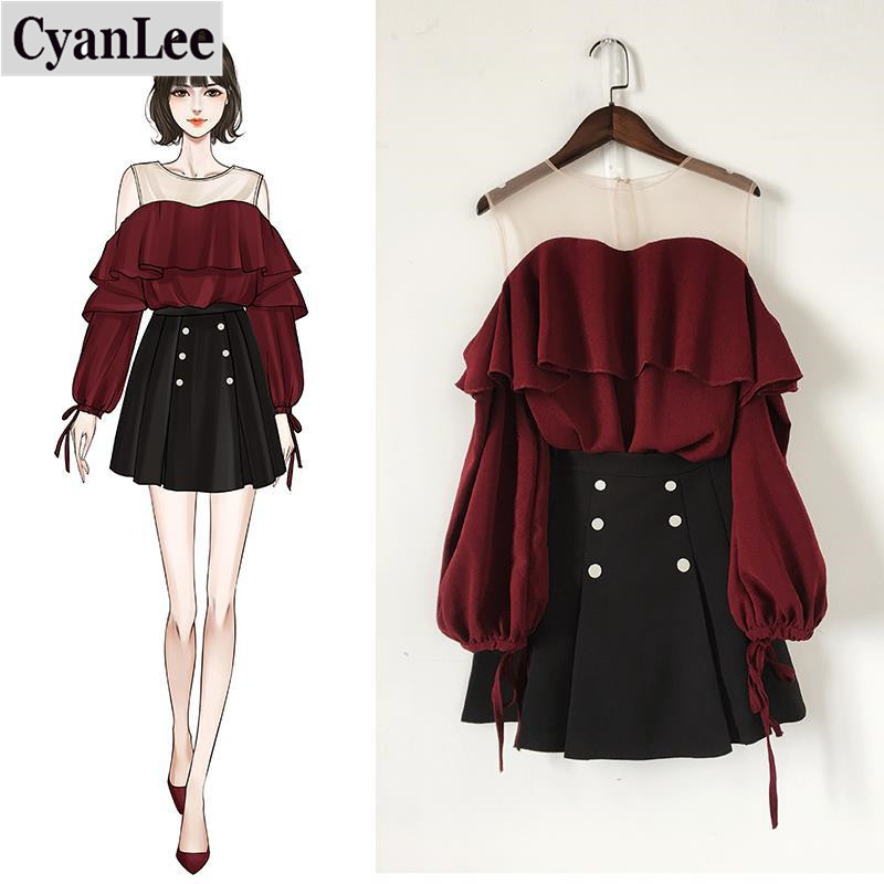Cyanlee 2020 Summer Women Knitted Pullover Sweater Tops +A Line Draped Solid Skirt Two Piece Sets Female Ruffles Casual Suit