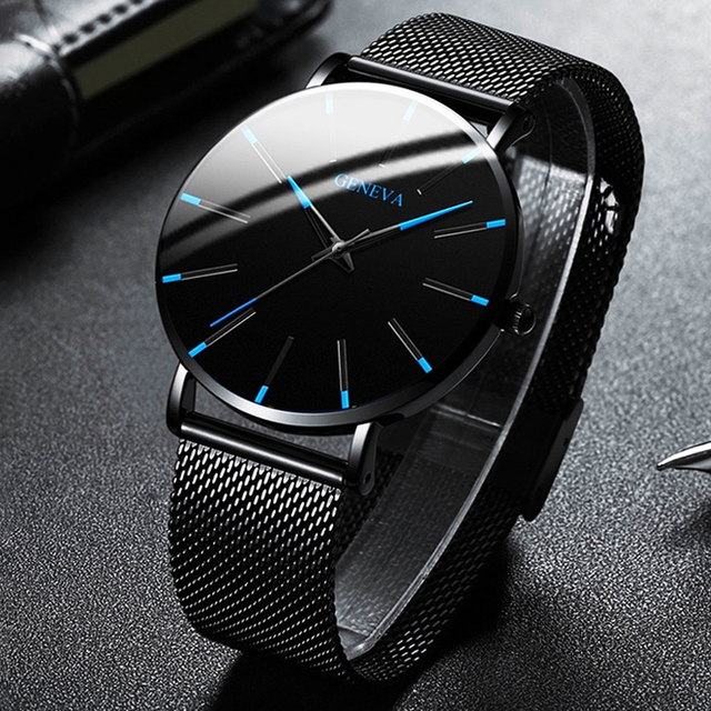 Minimalist Men Fashion Ultra Thin Watches Simple Men Business Stainless Steel Mesh Belt Quartz Watch Relogio Masculino 1