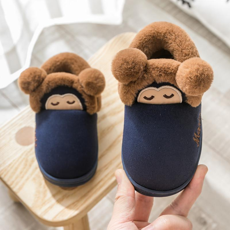 Winter Kids Slippers For Toddler Boys Indoor Shoes Baby Girl Fashion Fur Slides Cotton Flip Flop Warm House New Children Slipper