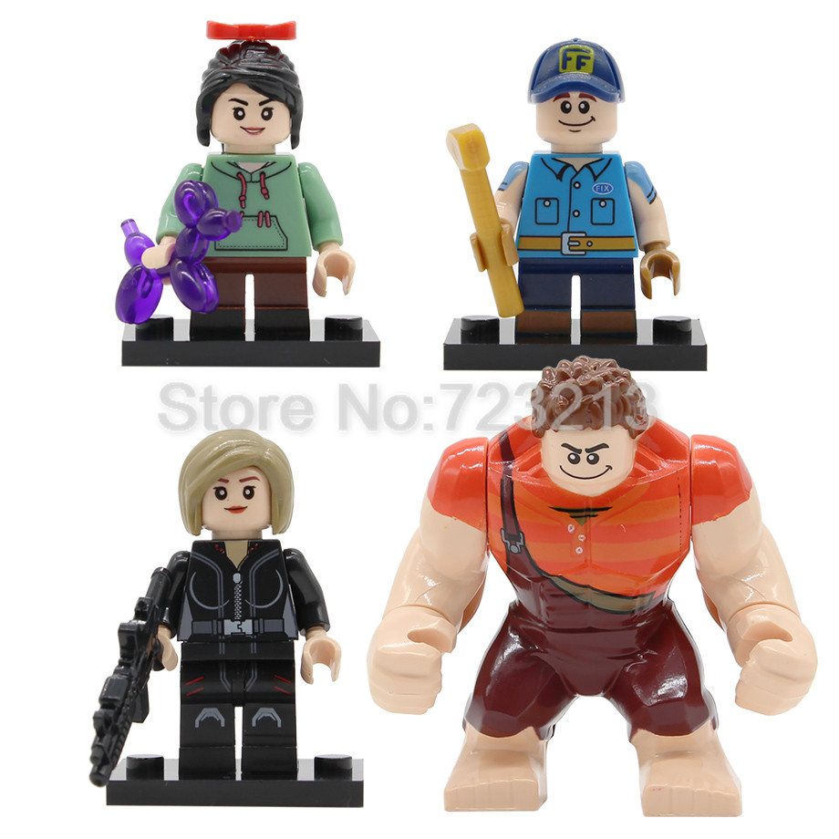 4pcs Wreck It Ralph Figure Set Cartoon Movie Vanellope Von Schweetz Fix It Felix Tamora Jean Building Block Bricks Toys Legoing