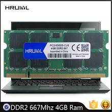 HRUIYL Laptop RAM DDR2 667Mhz 4GB SO-DIMM 200Pin 1.8V Memory 2RX8 PC2-5300S Notebook Module Dual-channel Original Used Memoria
