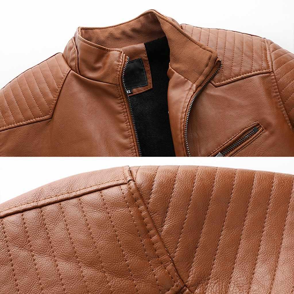 男性のレザージャケット秋冬 кожаная куртка мужская jaqueta デ couro masculino バイカーオートバイジッパー長袖コート #3
