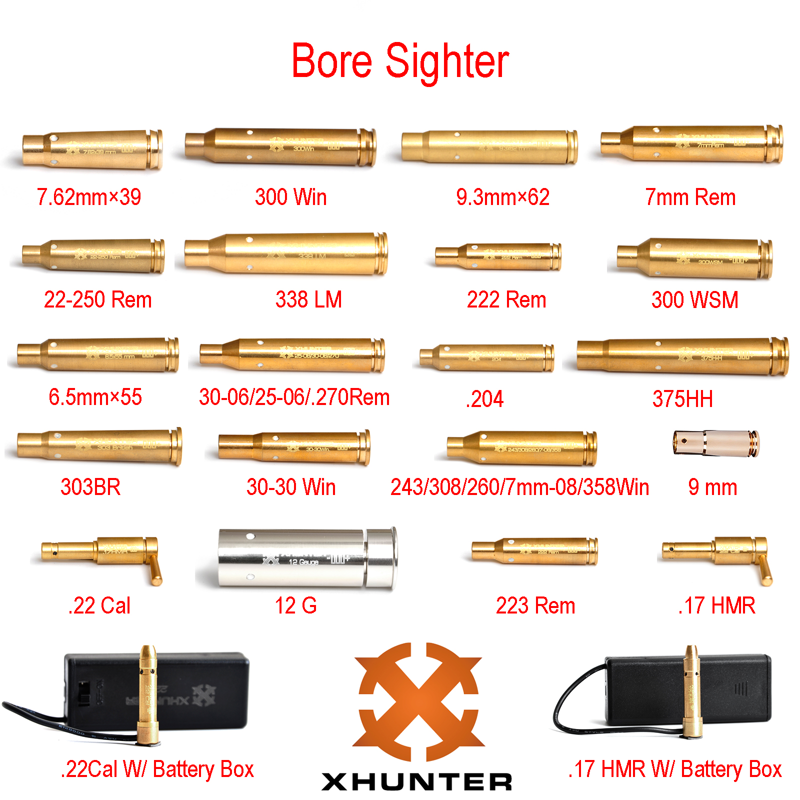 Xhunter Brass Copper Bore Sighter Laser Boresighter Red Dot Bore Sight Rifle Scope Hunting Shooting Tactical Borsight All Modes