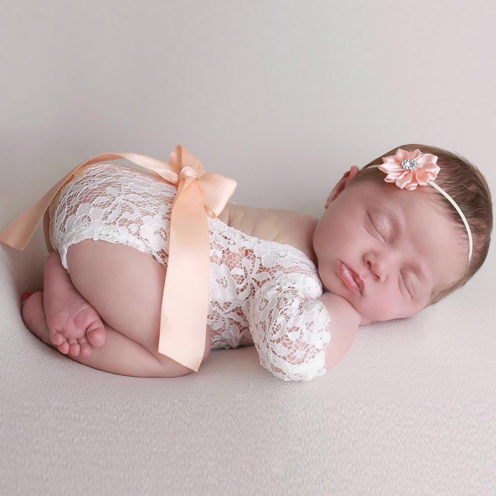2pcs Newborn Photography Props Baby Girls Bow Lace Rompers Headband Photo Shoot Infant Outfits Photo Photography Accessories