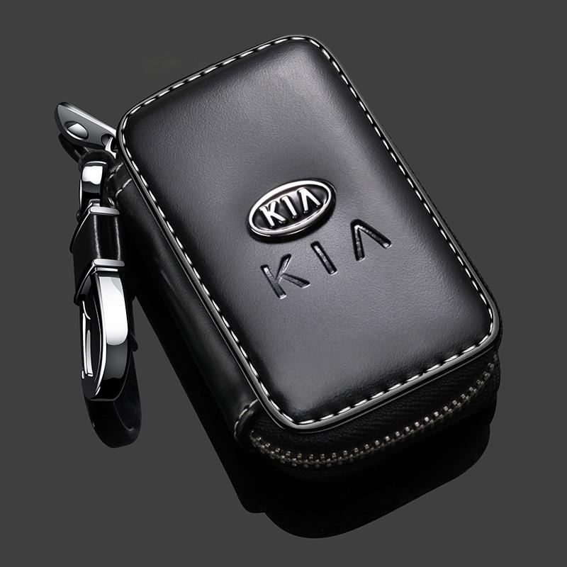 Leather Car Key Case Key Cover For KIA K2/3/4/5 Stinger Sportage Soul Sorento Seltos Forte Optima Ceed Rio Car Accessories 1
