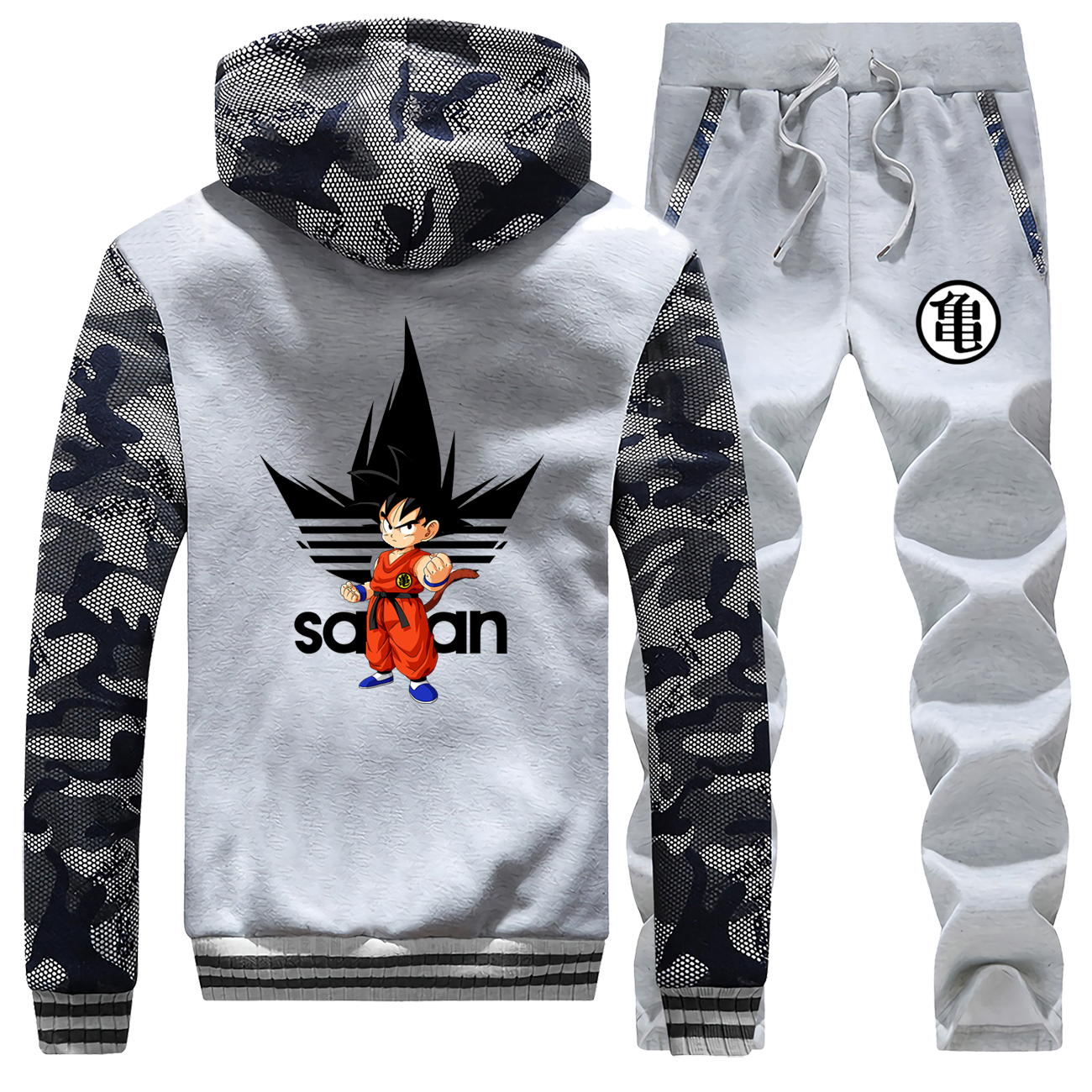 Dragon Ball Z Warm Tracksuit Japanese Anime 2019 Winter Harajuku Hip Hop Pants Sweatshirts Super Saiyan Brand Men's Thick Sets