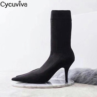 Sexy Pointe Toe Mid Calf Boots Women Thin Heels Ladies Party Shoes Round Toe Stretch Short Boots Women Black Sock Botas Mujer