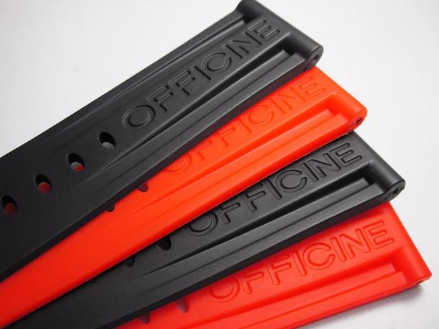 22mm 24mm 26mm de alta qualidade borracha relógio banda para pam44332111 série preto laranja homem pulseira aço inoxidável fivela