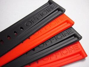 Image 1 - 22mm 24mm 26mm wysokiej jakości guma Watch Band dla PAM44332111 seria czarny pomarańczowy człowiek nadgarstek klamra ze stali nierdzewnej