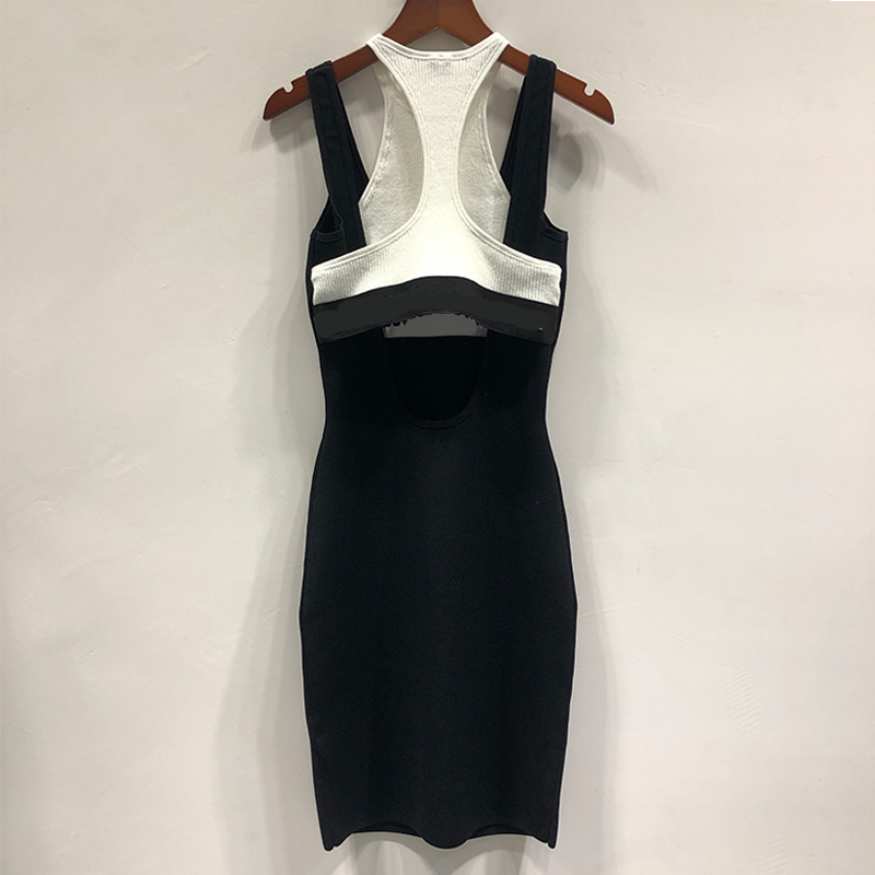 2020 women dress summer knitted dress slim backless hollow out letter patchwork casual party dress
