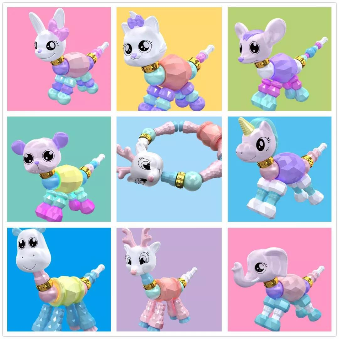 New Style Creative Love Elves Flexible Bracelets Magic Animal Transformation Bracelets Necklace DIY Children'S Educational Toy