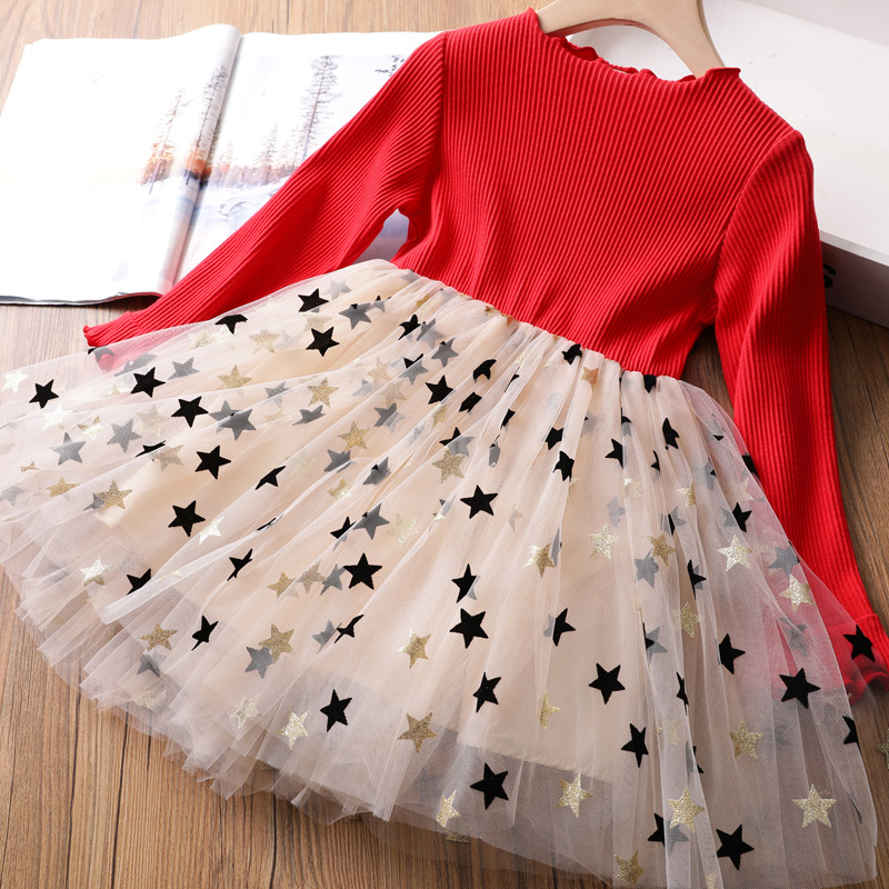 Girls Winter Dress for Kids Long Sleeve Star Sequined Princess Dresses 3 6 8 Years Old Children Cotton Knitted Autumn Clothes 2