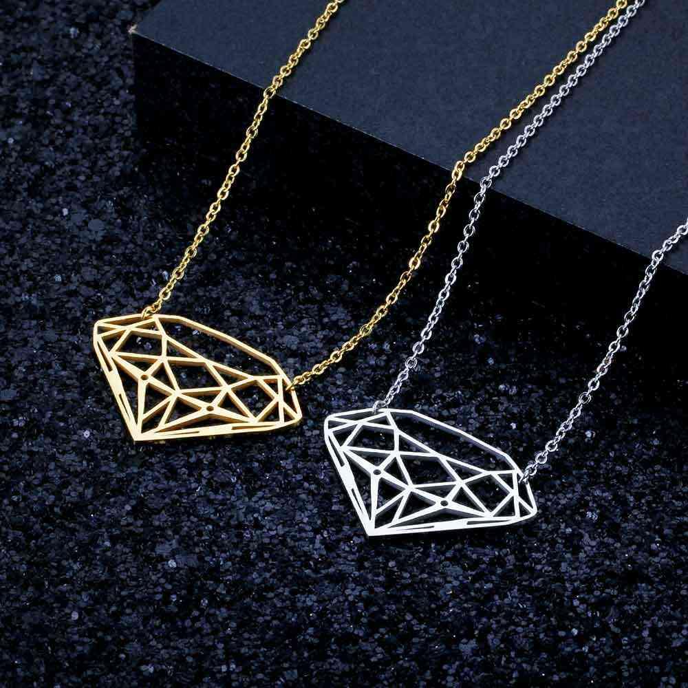100% prawdziwe ze stali nierdzewnej pusta duża Dia-Mon w kształcie naszyjnik specjalny prezent niesamowity Design osobowość biżuteria