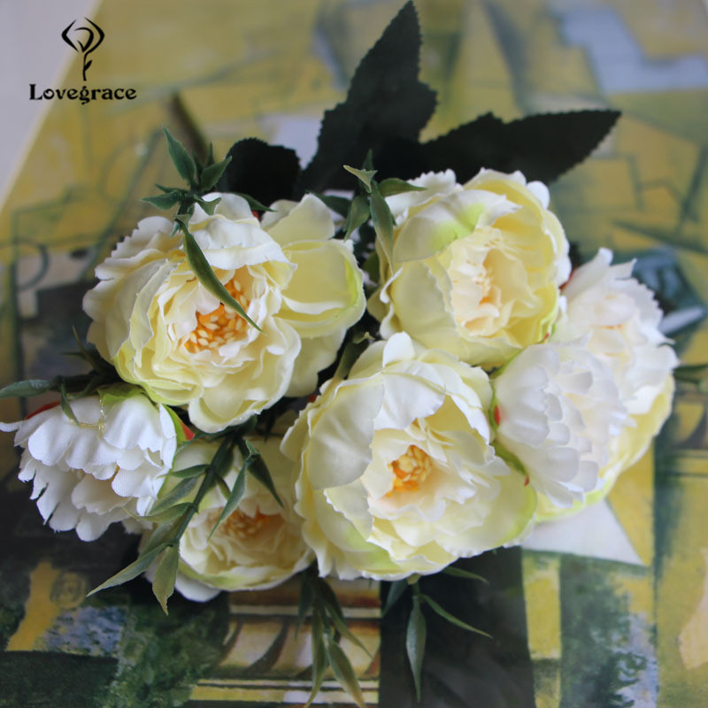 8 Heads Silk Artificial Peonies Flowers For Wedding Marriage DIY Decor Small Craft Flower Peony Mini Fake Flowers For Home Decor