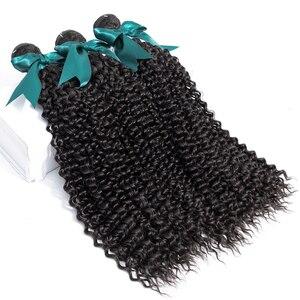 Image 3 - Bling Hair brazylijski perwersyjne kręcone wiązki z zamknięciem 13X4 koronkowe przednie 100% Remy wiązki ludzkich włosów z przednim naturalnym kolorem