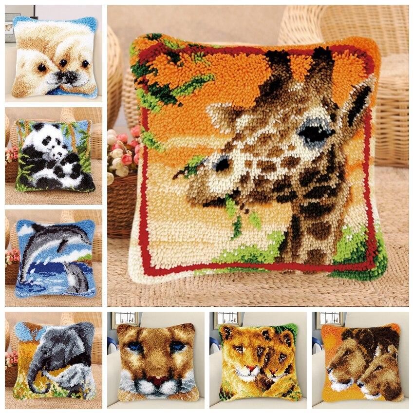 Animal Smyrna Knooppakket Klink Haak Kleed Bloemen Do It Yourself Cross Stitch Pillows Borduurpakket Kussen latch hook Pillow 3D