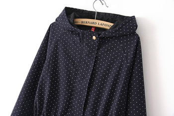 European style Spring Autumn women polka dots drawstring hooded trench, female fashion plus size loose casual windbreaker coat 4