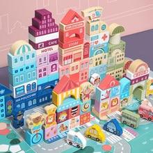 100 Pcs Farbe Holz Spielzeug Stadt Verkehrs Szenen Geometrische Form Montiert Bausteine Früh Pädagogisches Spielzeug Für Kinder