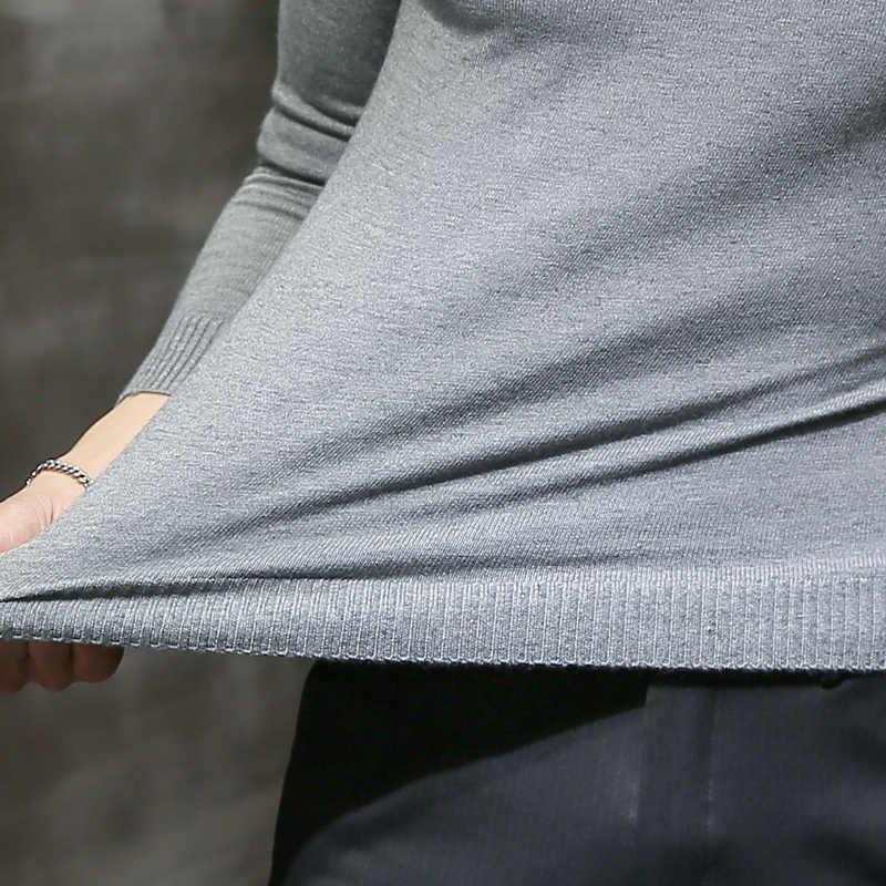 2019 jerseys de cuello alto de invierno para hombres nuevos jerseys de punto de marca negra Sexy para hombres de Color sólido Casual suéter de punto de otoño para hombre