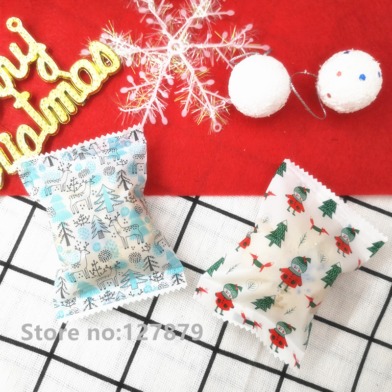 50pcs Christmas Xmas Elk Dessert Bags Heat Sealing Plastic Cookies Baking Bags Cake Biscuit Gift Candy Plastic Packaging Bags
