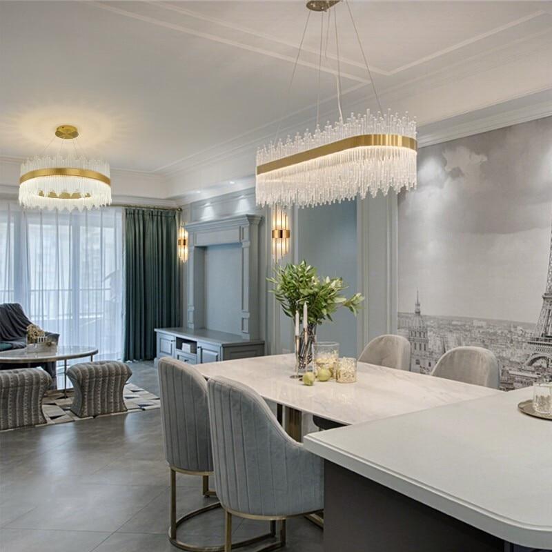 Роскошная хрустальная люстра, современный дизайн, круглый светодиодный светильник, используется для украшения гостиной, спальни, отеля