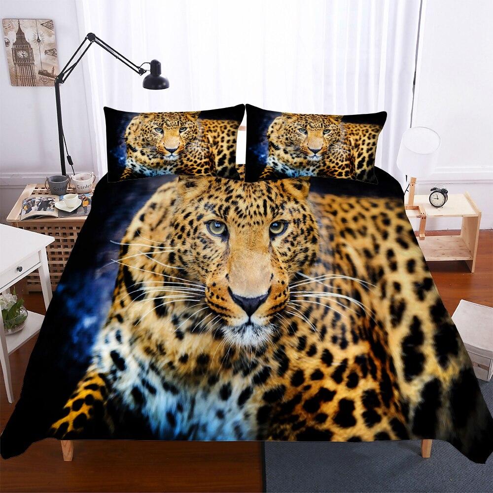 MEI Dream regardant léopard 3d Animal literie ensemble housse de couette taies d'oreiller couette ensembles de literie literie