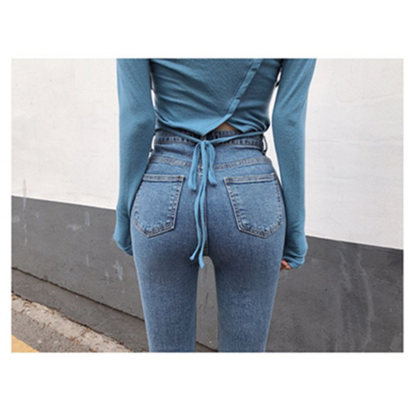 JUJULAND Women Push Up Jeans Skinny Button Zipper Clothing New Fashion Sexy Female Summer Autumn Winter Jeans Pencil Pants 7377