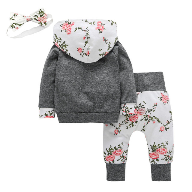 Previous Next Baby Girl's Floral Hoodie and Pants Set with Headband 2